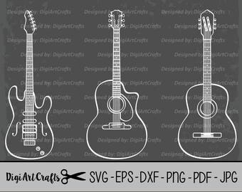 Guitar LAZER Cut Files / Electric Guitar clipart / DIY Guitar SVG cutting files / scrap booking / Acustic Guiter Outline / Commercial Use