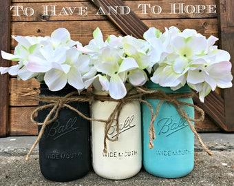 Painted Mason Jar Home Decor.BLACK. IVORY. MALIBU. Chalk Paint. Vintage. Rustic Vase. Distressed. Wedding Centerpiece. Shower Gift.