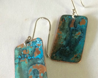 Copper earrings, patina earrings, dangle earrings, rustic copper earrings, tourquoise earrings, gift for her, made just for you in Santa Fe