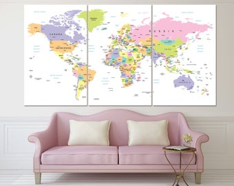 Large detailed map of the world canvas print with countries, political world map, travel map wall art, push pin world map