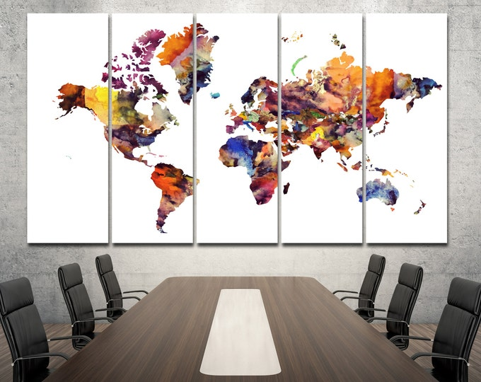 Large Watercolor World Map Canvas Set, Motley Abstract World Map Print / 1,3,4 or 5 Panels on Canvas Wall Art for Home & Office Decor