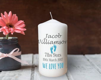 Personalised Baby Boy/Girl Birth Candle