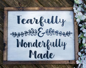 Fearfully and Wonderfully Made//Hand Painted Sign//Nursery Sign//Baby Shower Gift//