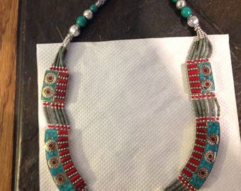 Beautiful  Red Coral  Torquoise Silver Necklace One of a kind