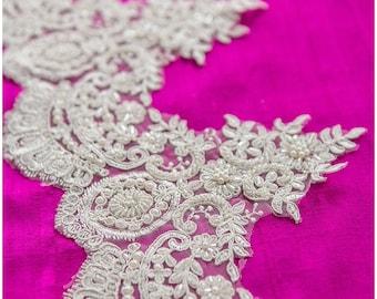 HEAVY beaded super soft Alencon Lace Trim, Wedding dress trim, beaded lace trim, Bridal lace, Wedding lace