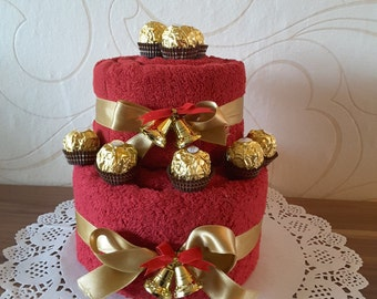 Money gift towel cake, Christmas, Rocher