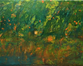 Original Abstract Encaustic Painting, Forest Fantasy