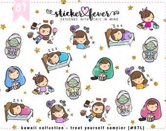 Treat Yourself Gemma SAMPLER Kawaii Chibi Character Planner Stickers for Erin Condren, Happy Planner, Passion Planner, Plum Planner... (#87)
