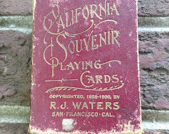 1898-1900 California playing cards//Copyrighted by R.J. Waters 1898-1900 San Francisco, California//Complete Vintage Poker cards