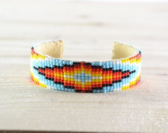 Lakota Sioux beaded bracelet with multicolored rock mixed.