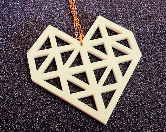 Make.E geometric white heart necklace