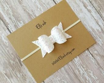 glitter bow headband, white & pink bow , baby headband , baby bow headband, hair bow , girl bow , newborn headband , infant headband,