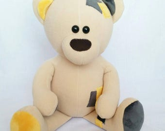 Teddy Bear, plush bear, teddy, black and yellow teddy,tan teddy,fleece teddy,teddie, bear toy, 20 inch bear, classic bear,non jointed bear