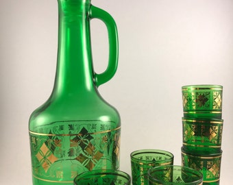 Green Glass Decanter and 6 Cordial Glass Set