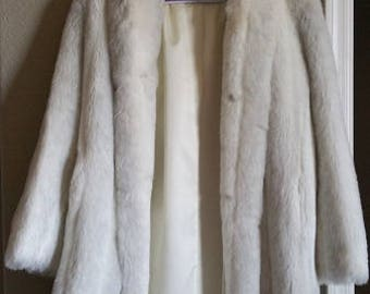 Vintage 1960s Saxton Hall Faux Mink Full-Length White Coat