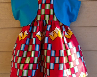 Red Blue Yellow African Wax Geometric Print Dress with Bolero Jacket