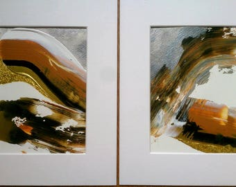SALE Original Abstract Painting Set of 2 Textured Gold Wall Art 8 x 10 Mounted / Metallic Black Orange Silver Gold White Acrylic Watercolour