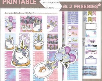 UNICORN PARTY Printable Happy Planner Sticker Kit,Birthday Happy Planner Kit,Celebrate weekly sticker kit,Fall Printable planner Sticker kit