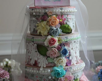 Keepsake bling box/Jwellery Box/Wedding Center Piece/Shabby Chic Cake/ 3 tier cake/flowers/blings/storage