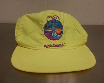 Vintage 80's O.P. Ocean Pacific Surf Shop Myrtle Beach South Carolina Neon Yellow Nylon Snapback Dad Hat Made in USA Skater Street Wear
