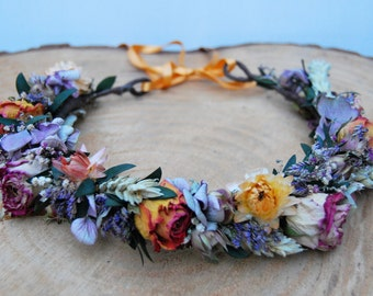 Flower crown with dried flowers, Wedding flower crown, floral crown, Boho flower crown, natural flower crown, Rose crown, Dried flower crown