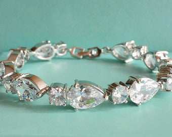White Gold Cubic Zirconia Bridal Bracelet. CZ Teardrop Crystal Bridal Wedding Cuff Bracelet. Tennis Crystal Bracelet. Wedding Jewelry