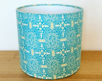 Handmade Fabric Lampshade. Teal and Mustard Geometric Pattern. Amy Butler