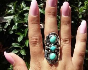 Turquoise Ring, tribal turquoise stone ring, boho jewelry, boho ring