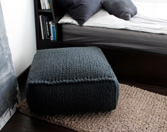 knitted pouf etsy. Black Bedroom Furniture Sets. Home Design Ideas