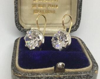 Antique style cut back setting CZ diamond drop earrings in silver setting on 18ct gold hooks