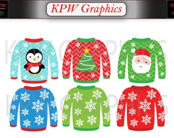 Colorful Ugly Christmas Sweater Clipart Set in a PNG format. Personal & Small Commercial use (009)