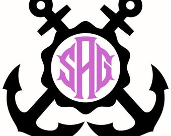 Anchors Aweigh Monogram Decal