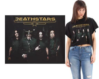 Rocker Tee DEATHSTARS Black Concert Tee Shirt Reworked 48 Carat Darkness- Euro Tour Authentic Cutt Off Raw Edges Cropped Large