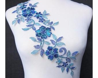 1pc x Blue/Teal Blue/Silver Flower Embroidery Venise Lace Applique Patch Trim Costume Dress Sewing DIY Craft BNC92