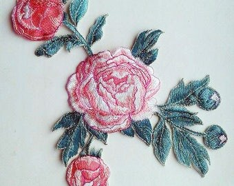 Moks36(p)  White peonies flowers Embroidery Patches