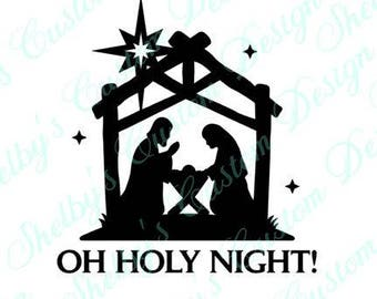 Christmas Decal, Oh Holy Night Vinyl Decal, Wall Art, Holiday, Living Room Decal, Modern Wall Decals, Vinyl Wall Decals