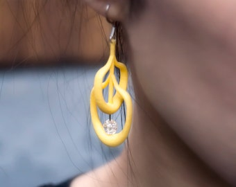 Yellow 3d Printed Earrings with Translucent Bead | Petal Earring in Yellow