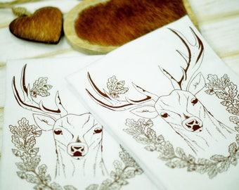 100% cotton table napkins.Cloth Napkins.Eco Friendly Dinner Napkins.Set 4 Cotton Cloth Napkins. Screen Printed Napkins. White Deer napkins.