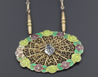 Antique Enamel Filigree Spider Necklace, Antique Spider Web Necklace, Rosas De Portugal Enamel Necklace