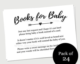 Baby book request inserts - shower party invitation - Bring a book instead of card - 24 Pack
