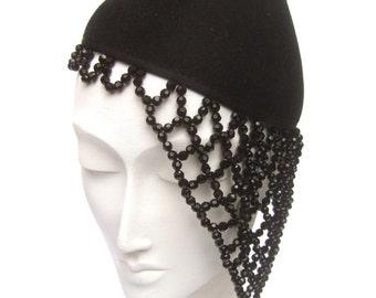 Avant Garde Black Beaded Trim Conical Hat by Henri Bendel