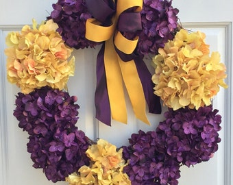 Hydrangea Wreath, Purple Gold Wreath, Front Door Wreath, Wreath Street Floral, Spring Wreath, Summer Wreath, Minnesota Vikings