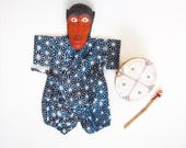 Baby Kimono, Jinbei, Romper for babies, INDIGO ASANOHA bébé, hand block printed fabric from India, made in France