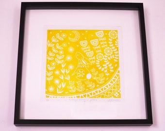 Evelyn Bunny in yellow, limited edition scandinavian folk art, woodland animal lover linocut print