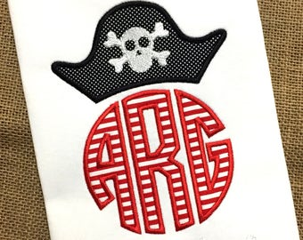 Pirate Applique Shirt / Pirate Monogram / Pirate Birthday Outfit / Boy Pirate Shirt / Girl Pirate / Pirate Party / Pirate Theme