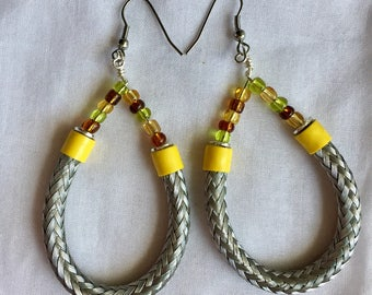Silver Hoop earrings/ Silver dangle hoop with yellow accents/ Picasso Glass seed beads/ handmade earrings