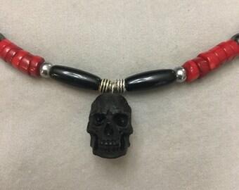 Men's Skull Necklace Carved Bone