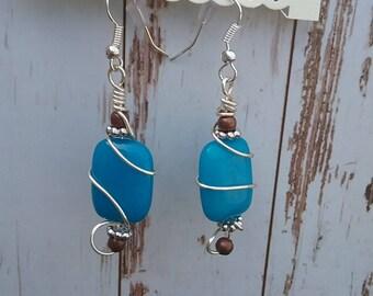 Turquoise silver wire wrap earrings