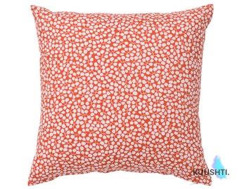 Floral Cushion- Coral Red- Red Pillow Cover- Botanical- Scandinavian Pillow- Coral Cushion- Modern Pillow- Throw Pillow- Handmade Cushion