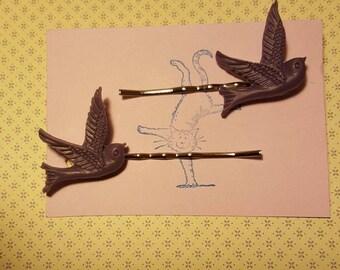 Handmade purple bird bobby pins - set of two 23mm purple bird bobby pin hairclips